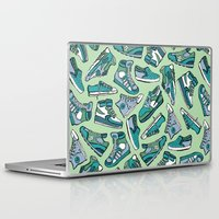 sneaker Laptop & iPad Skins featuring Sneaker Lover in Green by Artwork by Brie