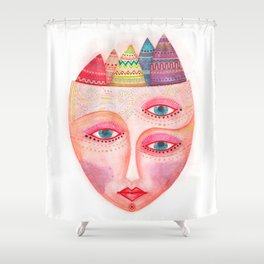 girl with the most beautiful eyes mask portrait Shower Curtain