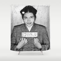 parks Shower Curtains featuring Rosa Parks Mugshot by All Surfaces Design