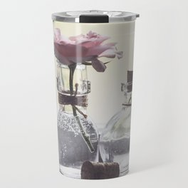 Pink Rose in Tiny Bottle Travel Mug