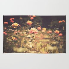 One Rose in a Magic Garden (Vintage Flower Photography) Rug