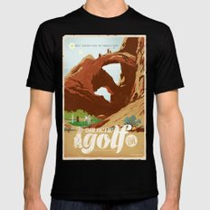 Galactic Golf - Retro travel poster Black Mens Fitted Tee X-LARGE