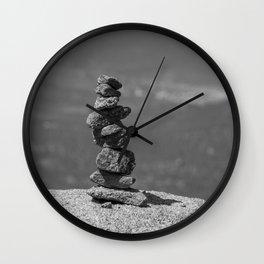 Rock balancing on the mountain Wall Clock