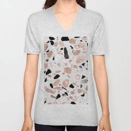 Classy rose gold vintage marble abstract terrazzo design Unisex V-Neck