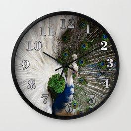 Blue White Peacock Wall Clock