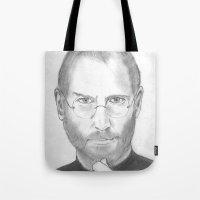 steve jobs Tote Bags featuring Steve Jobs by Feroz Bukht