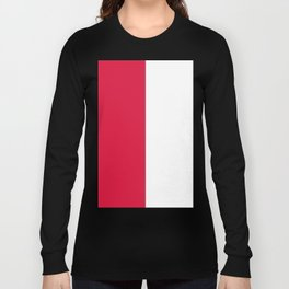 White and Crimson Red Vertical Halves Long Sleeve T-shirt