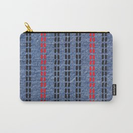 Digital Graphic Pattern Blue Denim Carry-All Pouch
