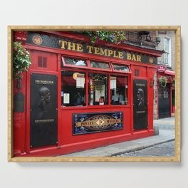 Red Temple Bar pub in Dublin Serving Tray