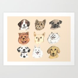 Nine Dogs Art Print