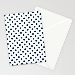 Small Polka Dots - Oxford Blue on White Stationery Cards