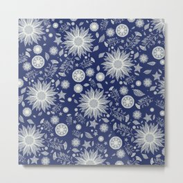 Beautiful Flowers in Navy Vintage Floral Design Metal Print