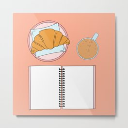 Croissant, coffee and notebook Metal Print