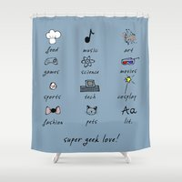 geek Shower Curtains featuring geek love! by gasponce