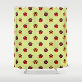 Lady Bug Yellow Shower Curtain