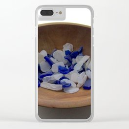 Cobalt and White Sea Glass Clear iPhone Case