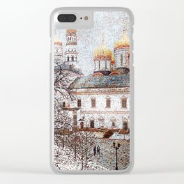 The Cathedral of the Dormition and Ivan the Great Bell Tower in the Moscow Kremlin Clear iPhone Case