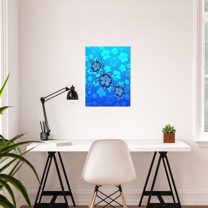 3 Blue Honu Turtles Poster