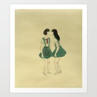 best friend Art Prints featuring Best Friend by Yi Gao