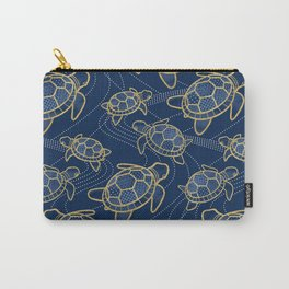 Japanese Pond Turtle / Dark Blue Carry-All Pouch
