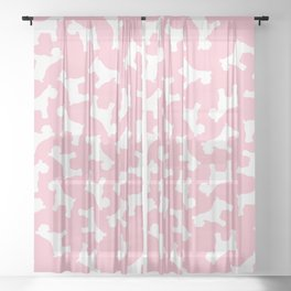 Pink Schnauzers - Simple Dog Silhouettes Sheer Curtain