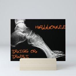 skeleton foot for halloween - scarry,candy, orange,black, trick or treat, fun, jack o lantern, bones Mini Art Print