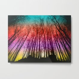 Colorful forest silhoutte Metal Print