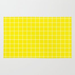 Canary yellow - yellow color - White Lines Grid Pattern Rug