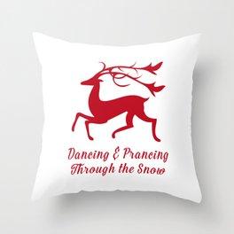 Prancing Christmas Deer Throw Pillow