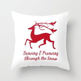 Prancing Christmas Deer Throw Pillow