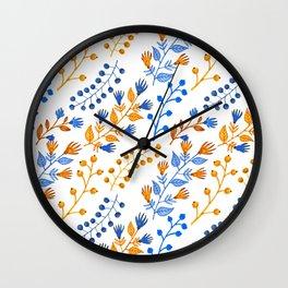 Orange brown navy blue hand painted watercolor berries floral Wall Clock