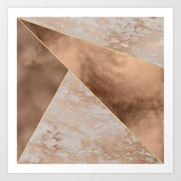 Copper Foil and Blush Rose Gold Marble Triangles Art Print