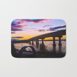 Bench at Sunset by the Casco Bay Bridge Bath Mat