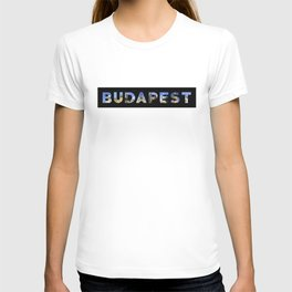 budapest images in text black T-shirt