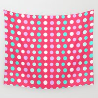 polka dots Wall Tapestries featuring Polka Dots by Ornaart