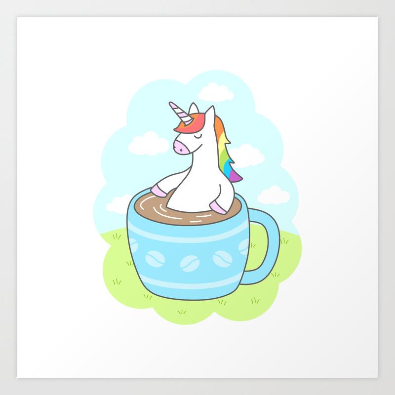 unicorn att the cafe coffee shop  art print 4x6