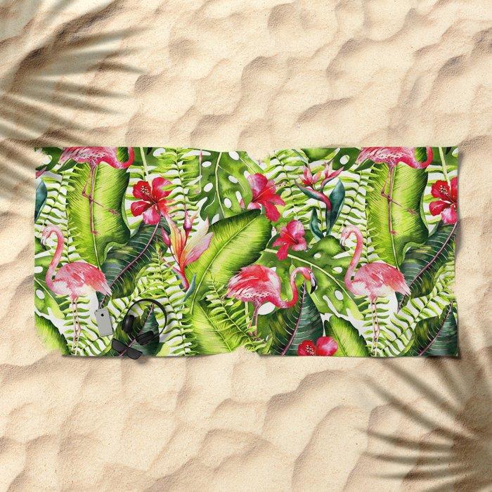 Aloha- Tropical Flamingo Bird and Hibiscus Palm Leaves Garden by #UtART Beach Towel