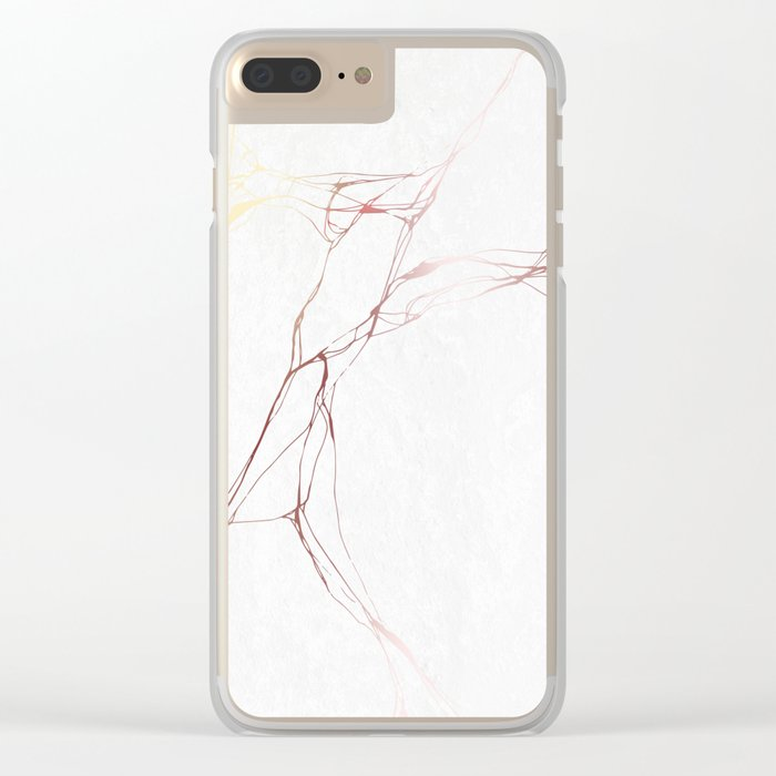 Rose Gold White Marble Pattern Clear iPhone Case