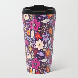 Boho Floral Pattern with Gold Accents Travel Mug
