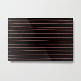 Pantone Burnt Henna Red 19-1540 Hand Drawn Horizontal Lines on Black Metal Print