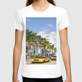 Yellow Cabs On Ocean Drive T-shirt