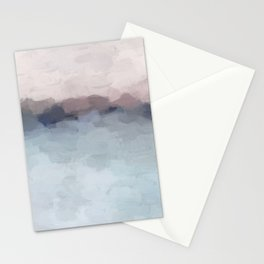 Blush Pink, Mauve Purple, Navy Light Blue, Abstract Painting, Modern Wall Art, Ocean Waves Horizon Stationery Cards