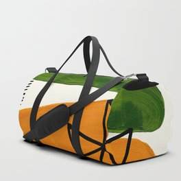 Mid Century Modern Abstract Minimalist Retro Vintage Style Yellow Ochre Olive Green Shapes Ornament Duffle Bag