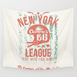 The emblem of the rugby team from New York in retro style Wall Tapestry
