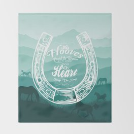 Horse Quote Typography - Horse Hoove Shoe quote - Horse lover Throw Blanket
