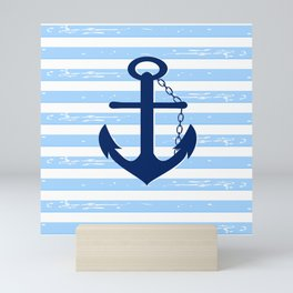 AFE Nautical Blue Ship Anchor Mini Art Print
