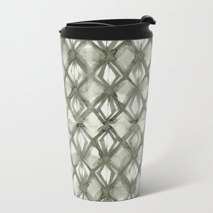 Braided Diamond Simply Green Tea on Lunar Gray Metal Travel Mug
