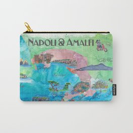 Amalfi Napoli Italy Travel Poster Favorite Map Touristic Highlights Carry-All Pouch