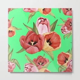Hibiscus digital drawing flowers design for home decoration Metal Print
