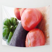 vegetables Wall Tapestries featuring Vegetables by Carlo Toffolo